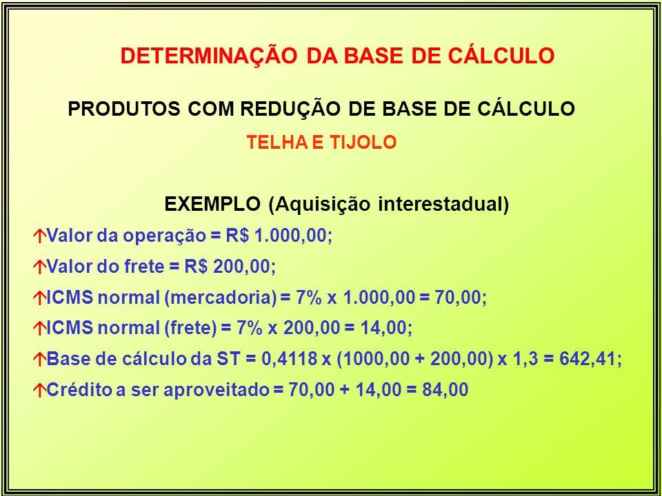 DETERMINAÇÃO DA BASE DE CÁLCULO PRODUTOS COM REDUÇÃO DE BASE DE CÁLCULO TELHA E TIJOLO EXEMPLO (Aquisição interestadual) áValor da operação = R$ 1.000