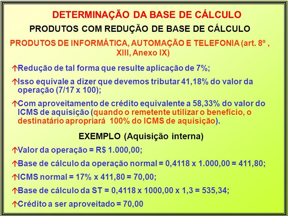 PRODUTOS COM REDUÇÃO DE BASE DE CÁLCULO PRODUTOS DE INFORMÁTICA, AUTOMAÇÃO E TELEFONIA (art. 8º, XIII, Anexo IX) DETERMINAÇÃO DA BASE DE CÁLCULO áRedu