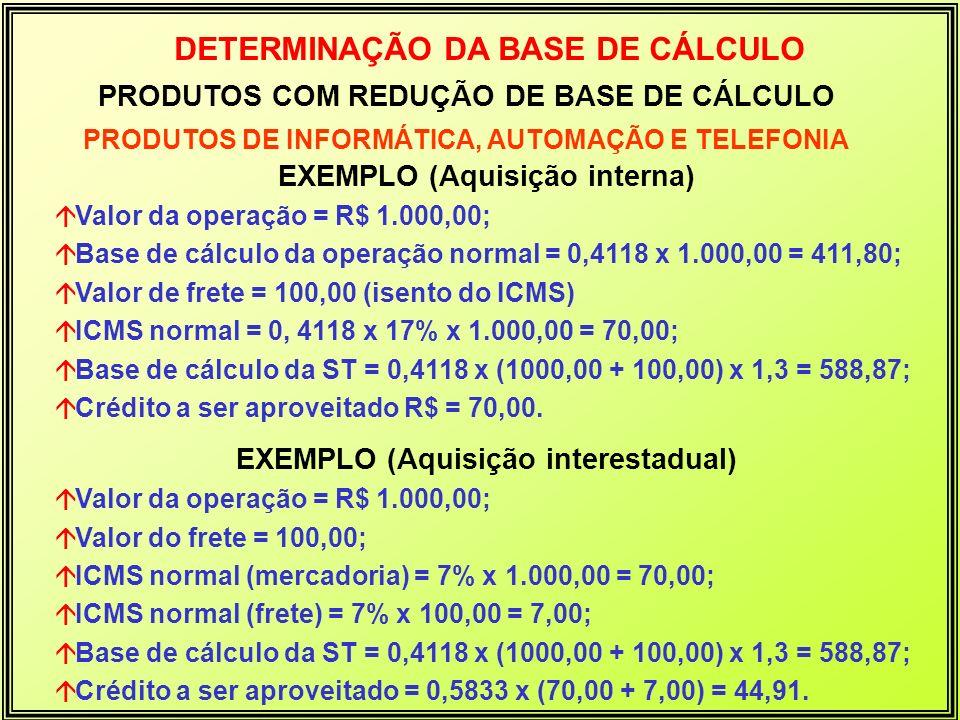 PRODUTOS COM REDUÇÃO DE BASE DE CÁLCULO PRODUTOS DE INFORMÁTICA, AUTOMAÇÃO E TELEFONIA DETERMINAÇÃO DA BASE DE CÁLCULO EXEMPLO (Aquisição interna) áVa