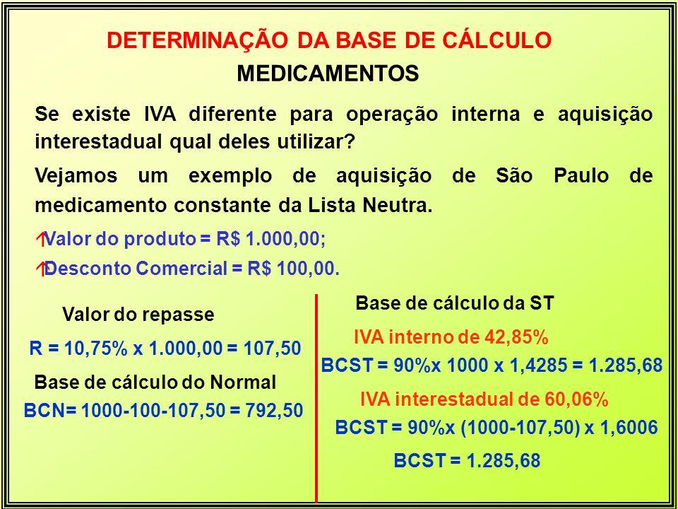 áValor do produto = R$ 1.000,00; áDesconto Comercial = R$ 100,00. Valor do repasse Base de cálculo do Normal BCN= 1000-100-107,50 = 792,50 R = 10,75%