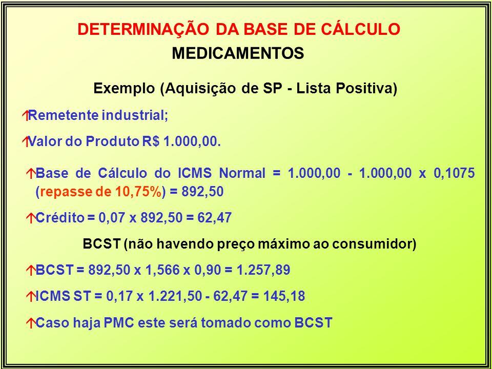 DETERMINAÇÃO DA BASE DE CÁLCULO MEDICAMENTOS Exemplo (Aquisição de SP - Lista Positiva) áRemetente industrial; áValor do Produto R$ 1.000,00. áBase de