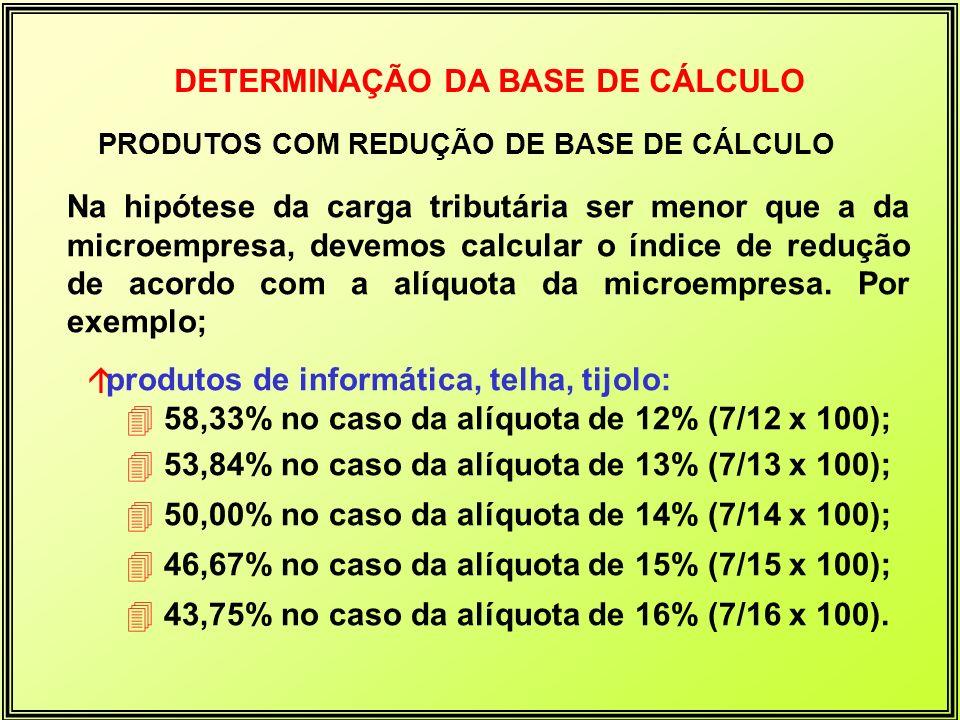 DETERMINAÇÃO DA BASE DE CÁLCULO PRODUTOS COM REDUÇÃO DE BASE DE CÁLCULO Na hipótese da carga tributária ser menor que a da microempresa, devemos calcu