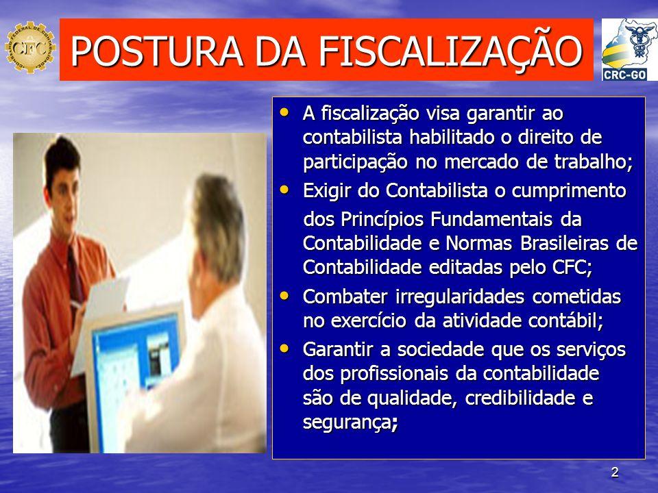 2 POSTURA DA FISCALIZAÇÃO A fiscalização visa garantir ao contabilista habilitado o direito de participação no mercado de trabalho; A fiscalização vis