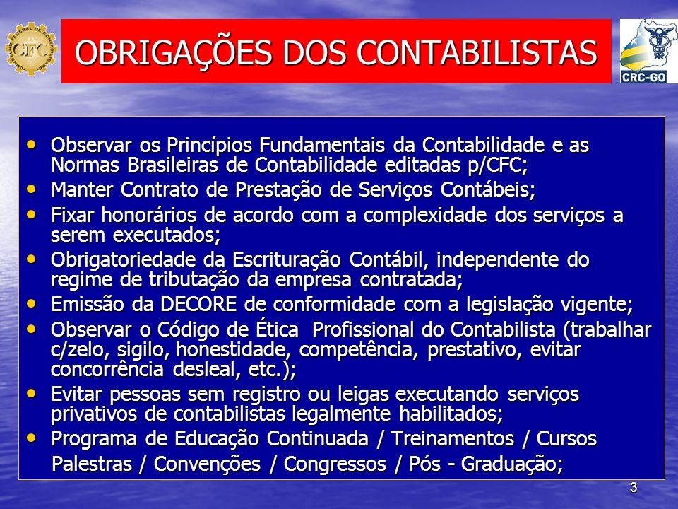 3 OBRIGAÇÕES DOS CONTABILISTAS Observar os Princípios Fundamentais da Contabilidade e as Normas Brasileiras de Contabilidade editadas p/CFC; Observar