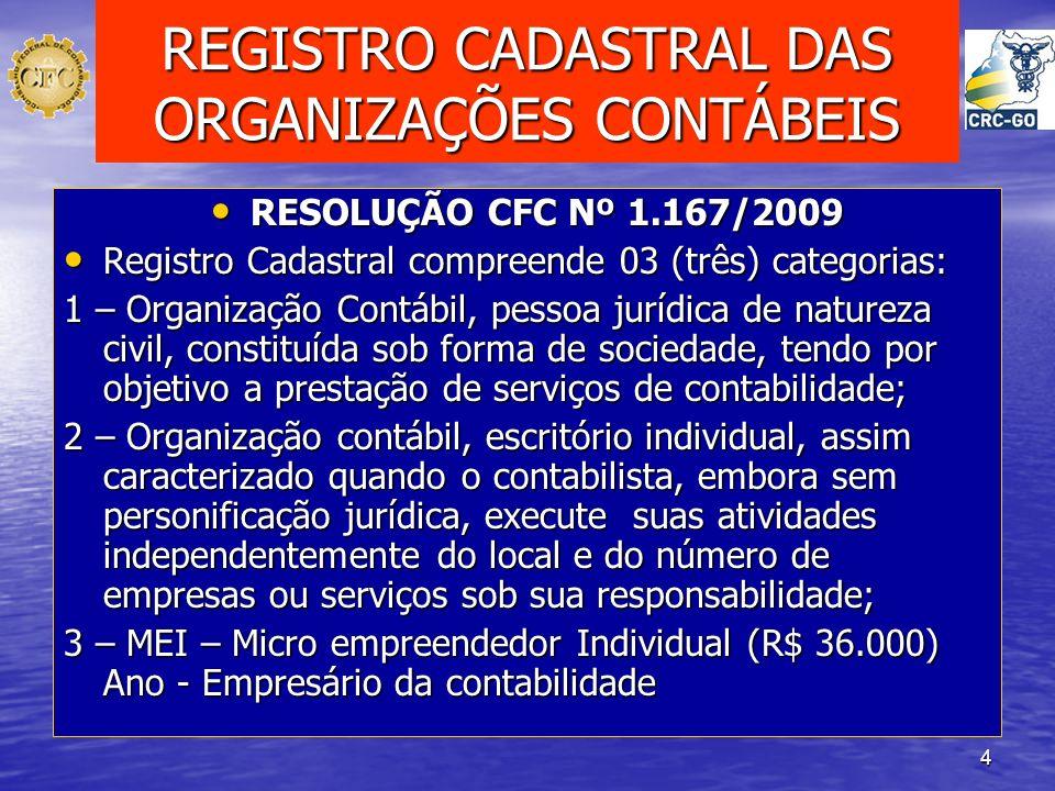 4 REGISTRO CADASTRAL DAS ORGANIZAÇÕES CONTÁBEIS RESOLUÇÃO CFC Nº 1.167/2009 RESOLUÇÃO CFC Nº 1.167/2009 Registro Cadastral compreende 03 (três) catego
