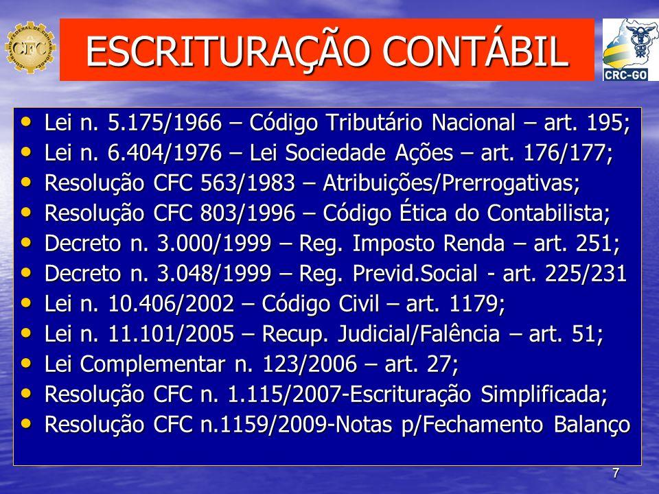7 ESCRITURAÇÃO CONTÁBIL Lei n. 5.175/1966 – Código Tributário Nacional – art. 195; Lei n. 5.175/1966 – Código Tributário Nacional – art. 195; Lei n. 6