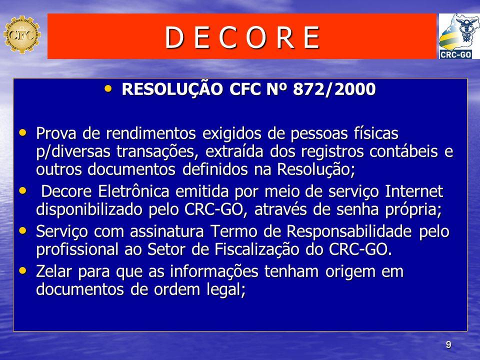 9 D E C O R E RESOLUÇÃO CFC Nº 872/2000 RESOLUÇÃO CFC Nº 872/2000 Prova de rendimentos exigidos de pessoas físicas p/diversas transações, extraída dos