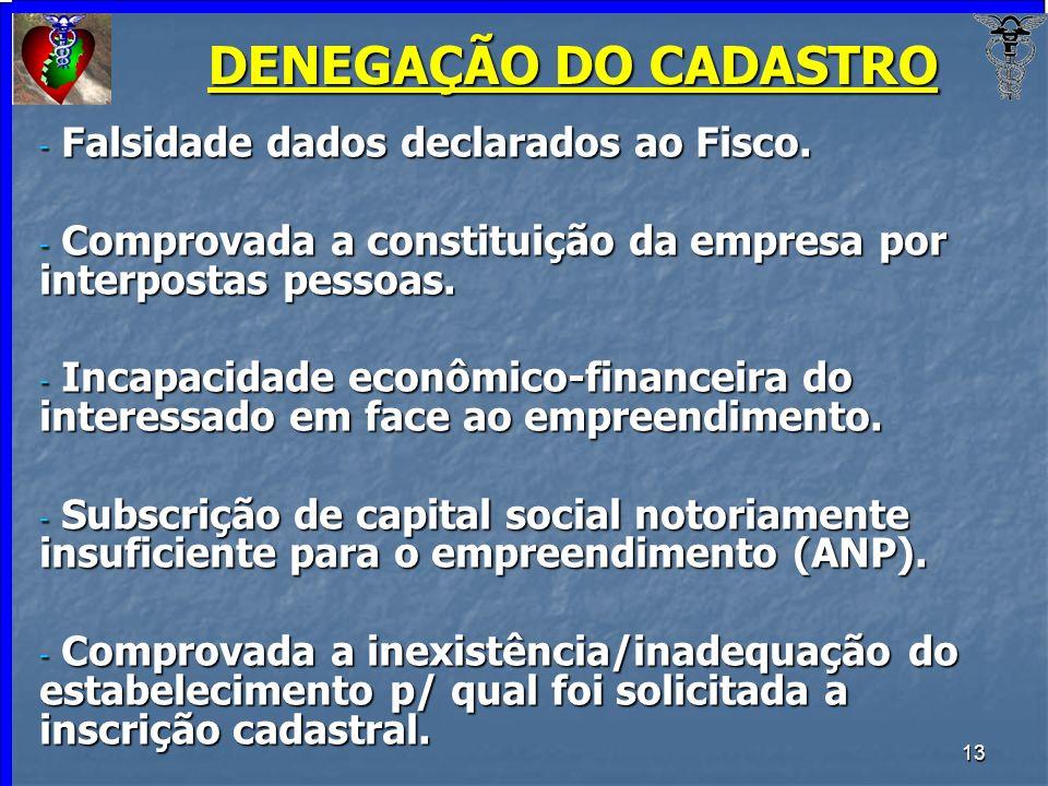 13 DENEGAÇÃO DO CADASTRO - Falsidade dados declarados ao Fisco. - Comprovada a constituição da empresa por interpostas pessoas. - Incapacidade econômi