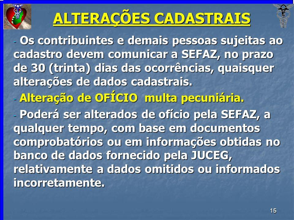 15 ALTERAÇÕES CADASTRAIS - Os contribuintes e demais pessoas sujeitas ao cadastro devem comunicar a SEFAZ, no prazo de 30 (trinta) dias das ocorrência