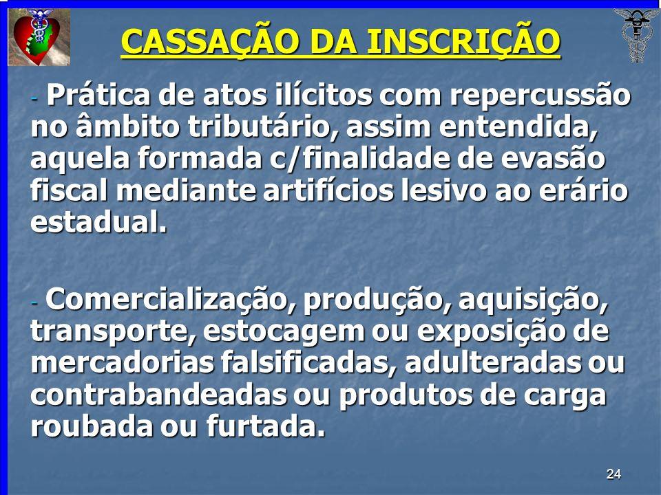 24 CASSAÇÃO DA INSCRIÇÃO - Prática de atos ilícitos com repercussão no âmbito tributário, assim entendida, aquela formada c/finalidade de evasão fisca