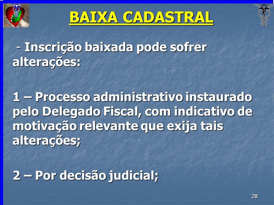 28 BAIXA CADASTRAL - Inscrição baixada pode sofrer alterações: - Inscrição baixada pode sofrer alterações: 1 – Processo administrativo instaurado pelo