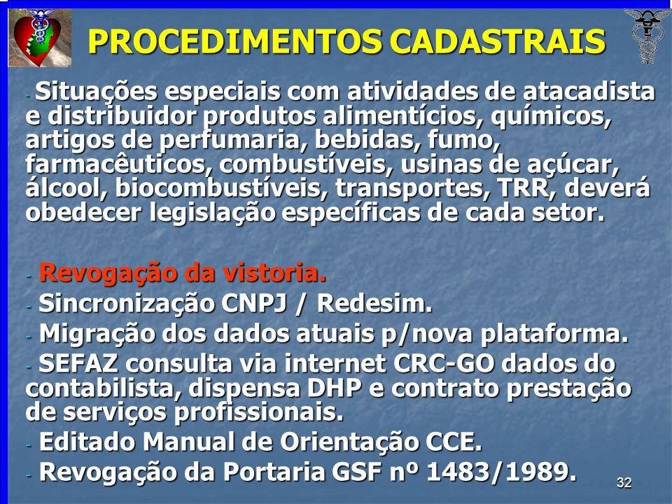32 PROCEDIMENTOS CADASTRAIS - Situações especiais com atividades de atacadista e distribuidor produtos alimentícios, químicos, artigos de perfumaria,