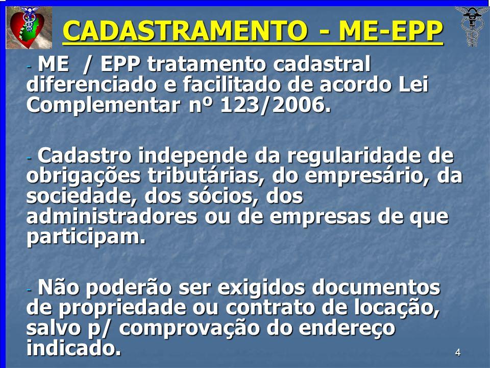4 CADASTRAMENTO - ME-EPP - ME / EPP tratamento cadastral diferenciado e facilitado de acordo Lei Complementar nº 123/2006. - Cadastro independe da reg