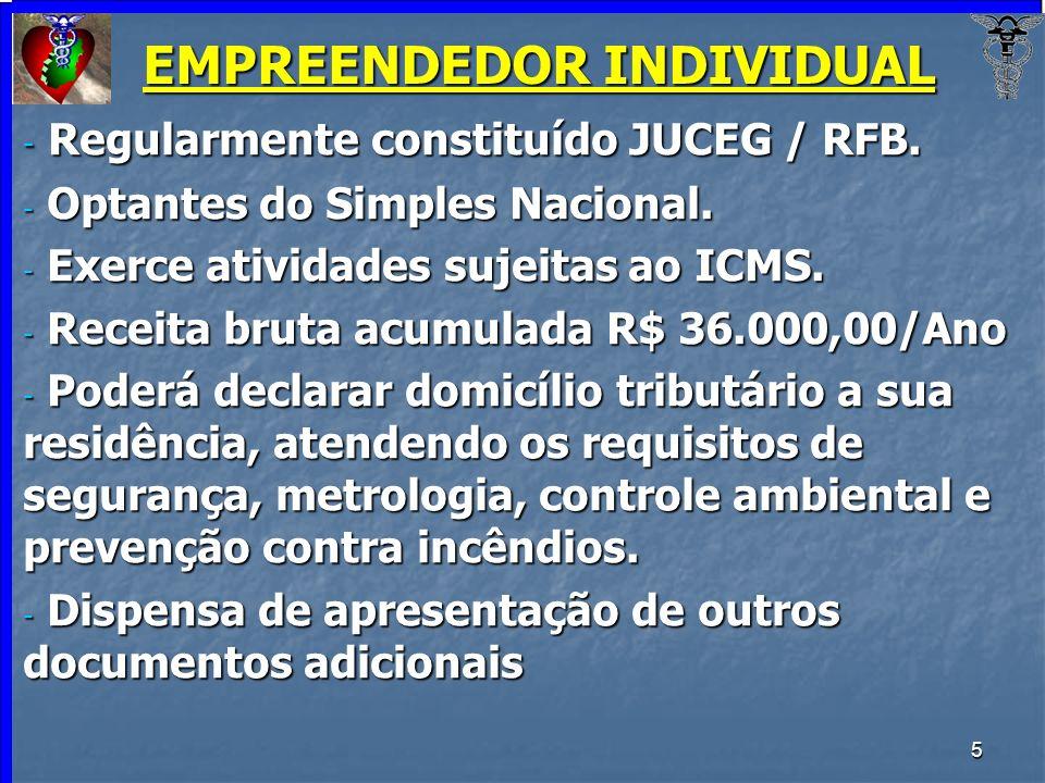 5 EMPREENDEDOR INDIVIDUAL - Regularmente constituído JUCEG / RFB. - Optantes do Simples Nacional. - Exerce atividades sujeitas ao ICMS. - Receita brut