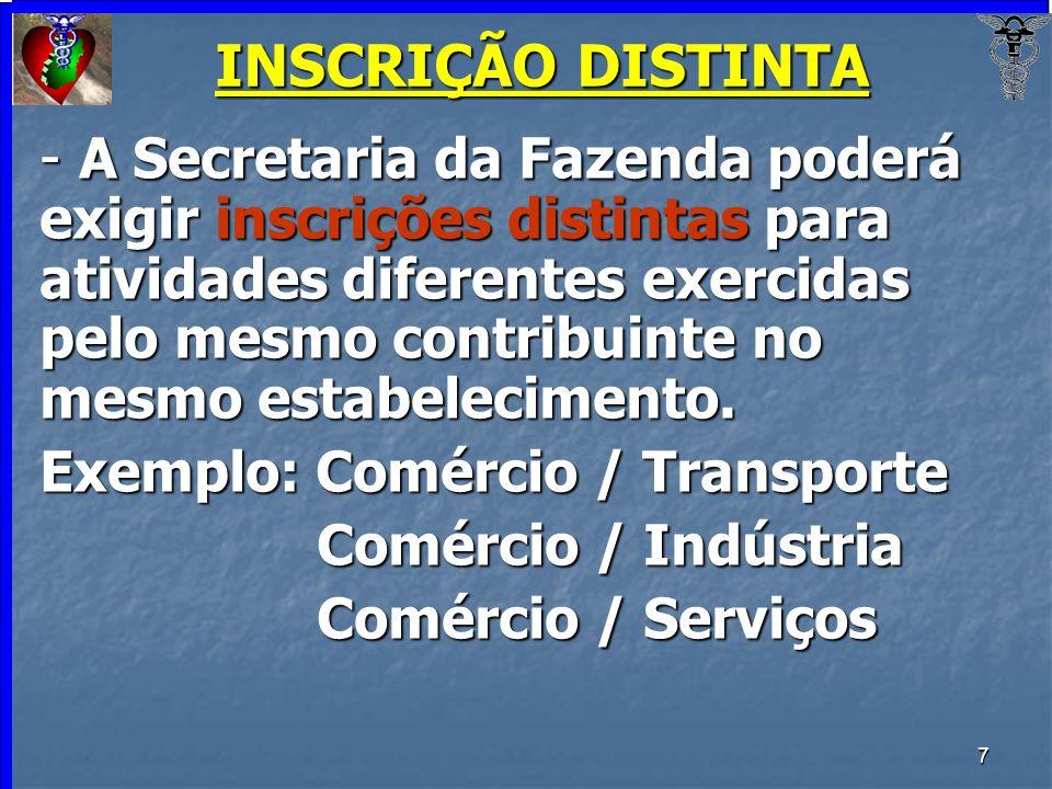 7 INSCRIÇÃO DISTINTA - A Secretaria da Fazenda poderá exigir inscrições distintas para atividades diferentes exercidas pelo mesmo contribuinte no mesm