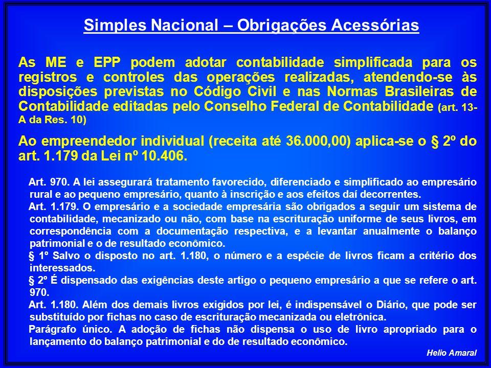 Helio Amaral Simples Nacional – Obrigações Acessórias As ME e EPP podem adotar contabilidade simplificada para os registros e controles das operações