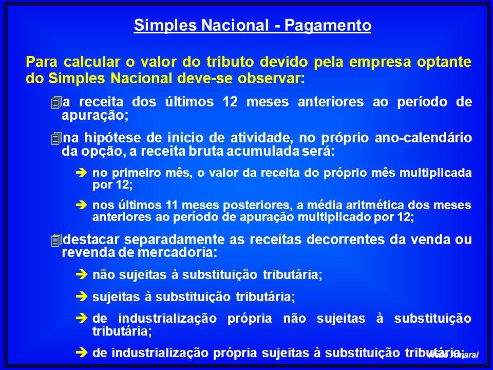 Helio Amaral Simples Nacional - Pagamento Para calcular o valor do tributo devido pela empresa optante do Simples Nacional deve-se observar: 4a receit