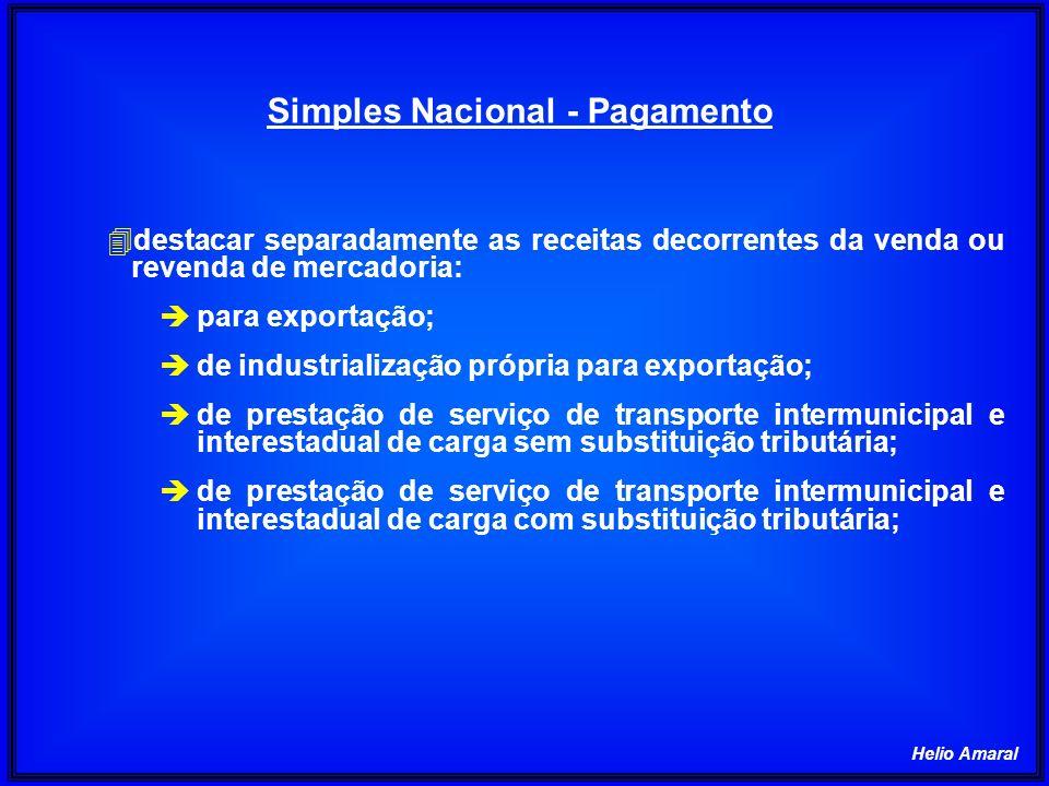 Helio Amaral Simples Nacional - Pagamento 4destacar separadamente as receitas decorrentes da venda ou revenda de mercadoria: èpara exportação; ède ind