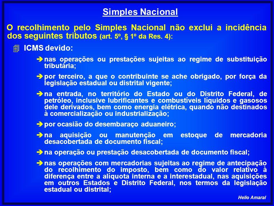 Helio Amaral O recolhimento pelo Simples Nacional não exclui a incidência dos seguintes tributos (art. 5º, § 1º da Res. 4): 4 ICMS devido: è nas opera
