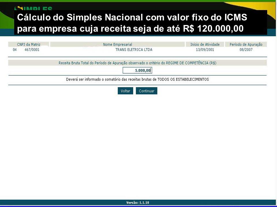 Cálculo do Simples Nacional com valor fixo do ICMS para empresa cuja receita seja de até R$ 120.000,00