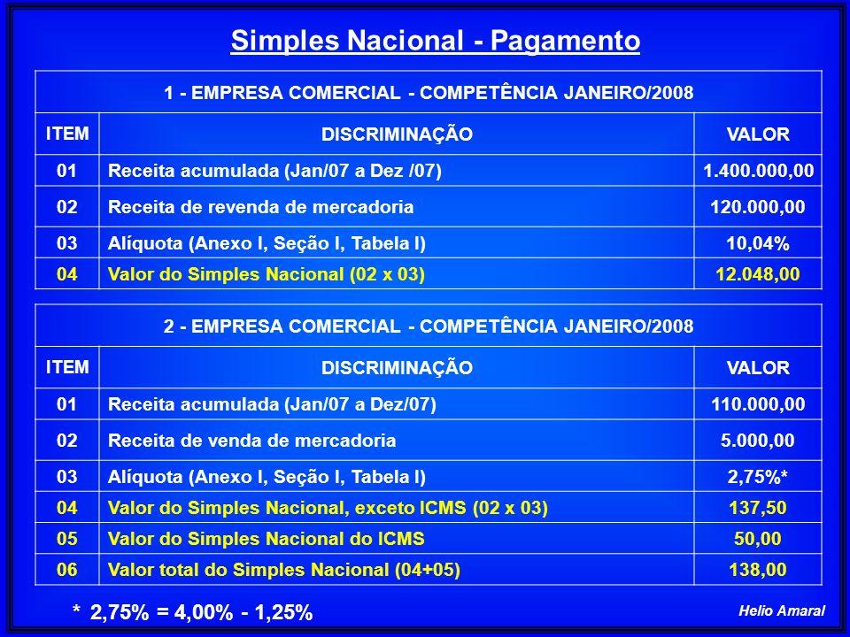 Simples Nacional - Pagamento 1 - EMPRESA COMERCIAL - COMPETÊNCIA JANEIRO/2008 ITEM DISCRIMINAÇÃOVALOR 01Receita acumulada (Jan/07 a Dez /07)1.400.000,