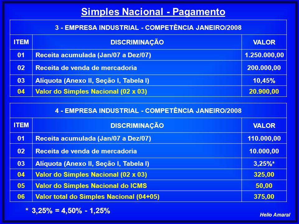 Helio Amaral Simples Nacional - Pagamento 3 - EMPRESA INDUSTRIAL - COMPETÊNCIA JANEIRO/2008 ITEM DISCRIMINAÇÃOVALOR 01Receita acumulada (Jan/07 a Dez/