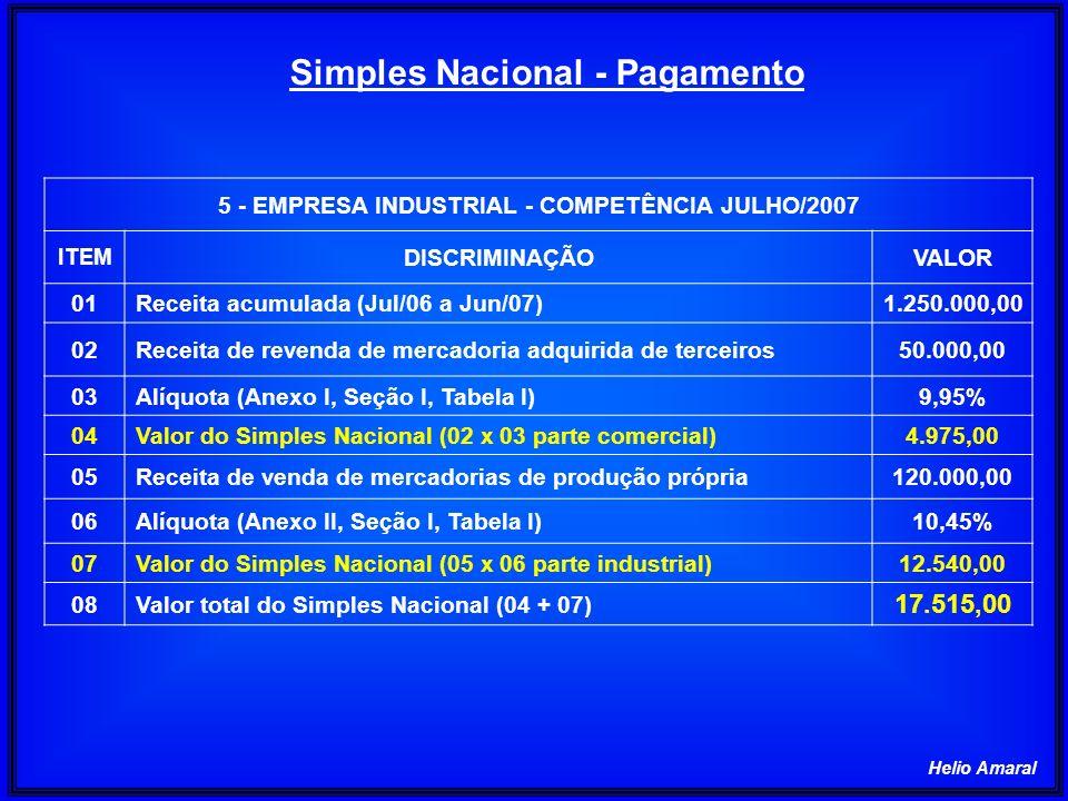 Helio Amaral 5 - EMPRESA INDUSTRIAL - COMPETÊNCIA JULHO/2007 ITEM DISCRIMINAÇÃOVALOR 01Receita acumulada (Jul/06 a Jun/07)1.250.000,00 02Receita de re