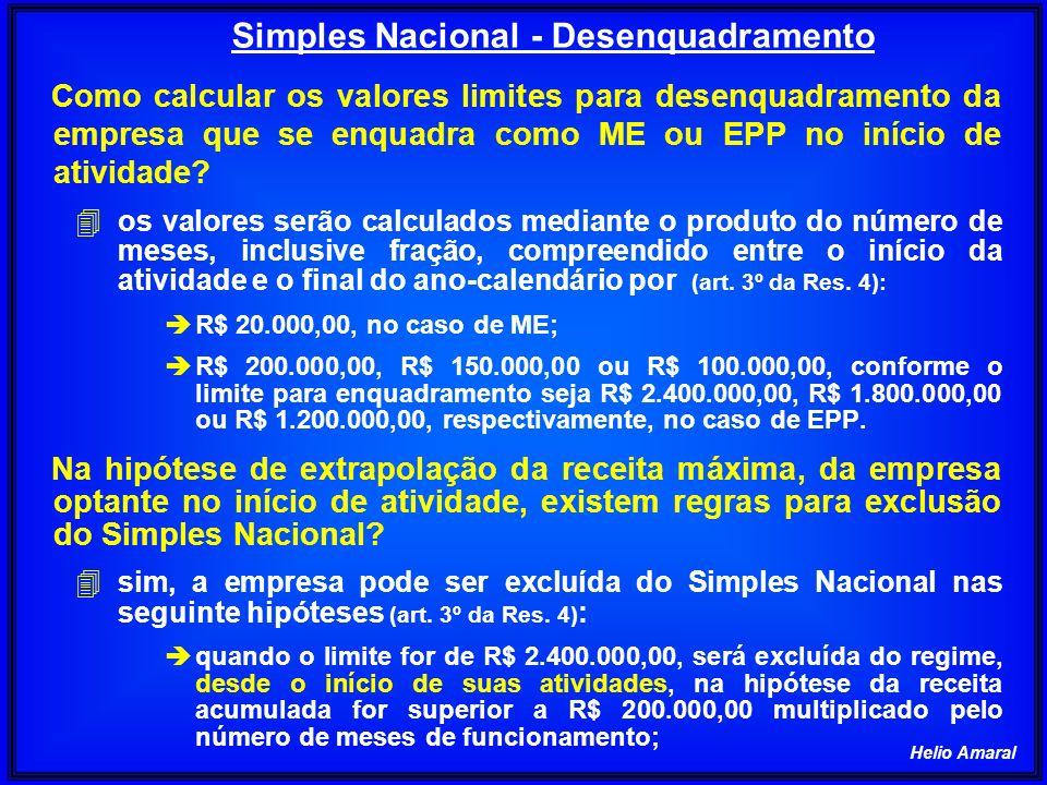 Helio Amaral Na hipótese de extrapolação da receita máxima, da empresa optante no início de atividade, existem regras para exclusão do Simples Nacional.
