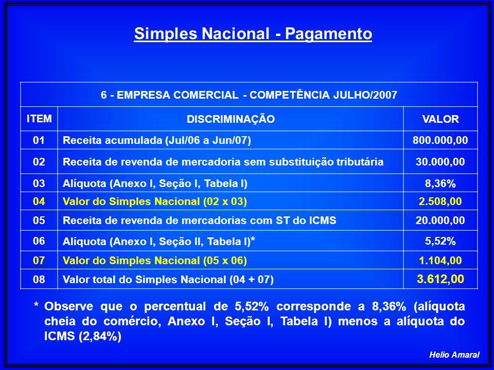 Helio Amaral 6 - EMPRESA COMERCIAL - COMPETÊNCIA JULHO/2007 ITEM DISCRIMINAÇÃOVALOR 01Receita acumulada (Jul/06 a Jun/07)800.000,00 02Receita de reven