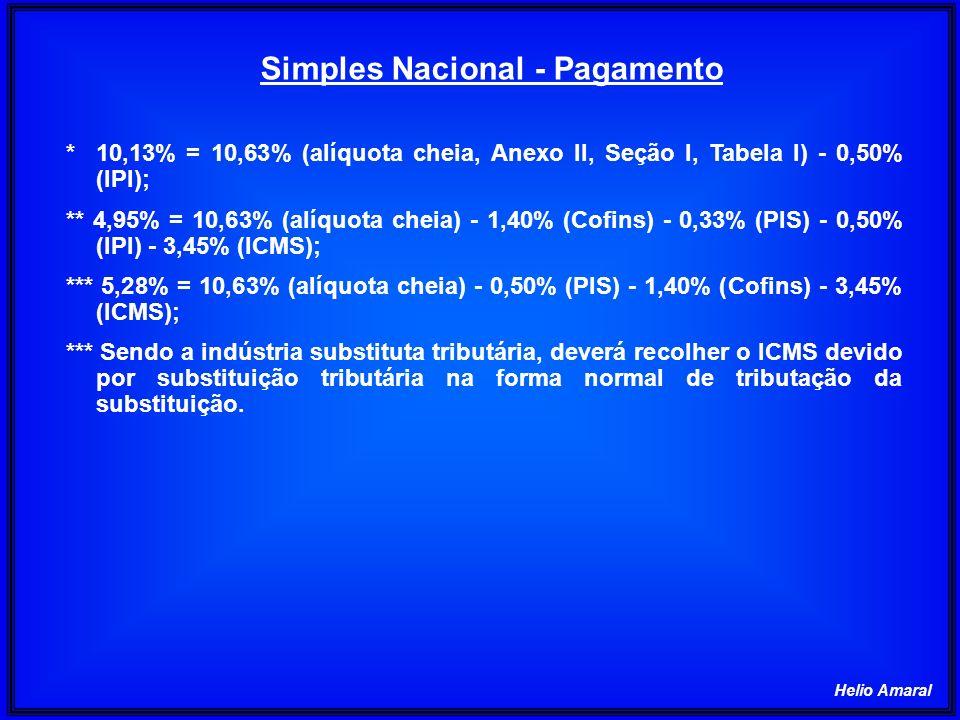 Helio Amaral Simples Nacional - Pagamento *10,13% = 10,63% (alíquota cheia, Anexo II, Seção I, Tabela I) - 0,50% (IPI); ** 4,95% = 10,63% (alíquota ch