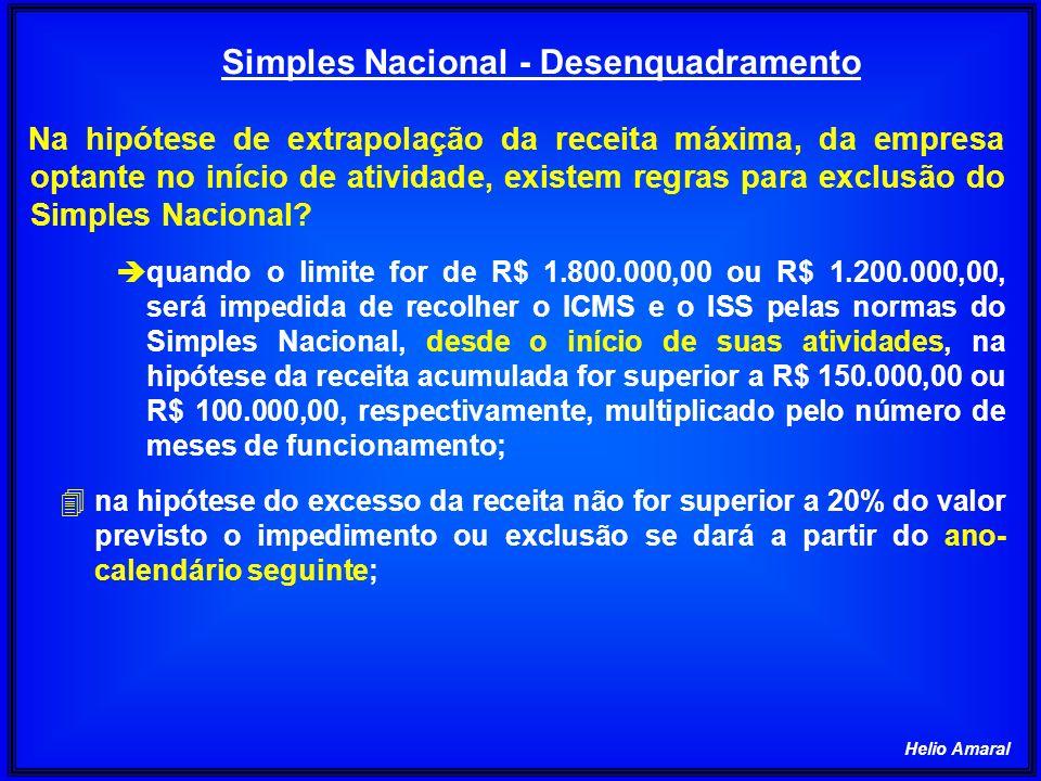 Helio Amaral Na hipótese de extrapolação da receita máxima, da empresa optante no início de atividade, existem regras para exclusão do Simples Naciona