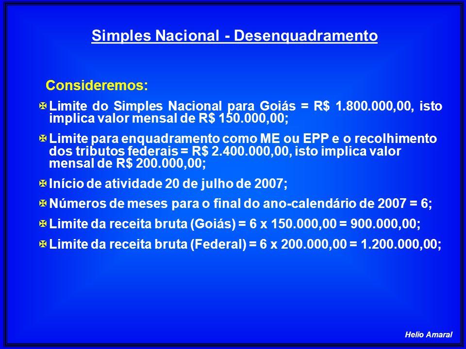 Helio Amaral Simples Nacional – Majoração da Alíquota JulAgoSetOutNovDezJanFevMarAbrMaiJunJul Total 100 50 100 200300350300 2002150 Receita corrente200300350300 200 1850 Receita dos últimos doze meses (em R$ 1.000,00) 1.Alíquotas: 1.1.sem majoração = 11, 42% (cheia) e 3,88% (ICMS); 1.2.do ICMS da faixa do sublimite (1.800.000,00) = 3,51%; 1.3.com majoração (sublimite) = 11,752% (11,42% - 3,88% + 3,51% x 1,2) 2.Relação entre o valor excedente do sublimite e a receita mensal: R1 = 50.000/200.000 = 0,25 3.Simples Nacional (SN) 3.1.parte não excedente = 11,42% x (1 - 0,25) x 200.000 = 17.130,00; 3.2.parte excedente = 11,75% x 0,25 x 200.000 = 5.876,00; 3.3.SN = 17.130,00 + 5.875,00 = 23.006,00; Receita Bruta em 12 meses(em R$)ALÍQUOTAIRPJCSLLCOFINSPIS/PASEPINSS ICMS De 1.680.000,01 a 1.800.000,0010,32%0,48% 1,43%0,34%4,08% 3,51% De 2.040.000,01 a 2.160.000,0011,42%0,53% 1,58%0,38%4,52% 3,88% 1.