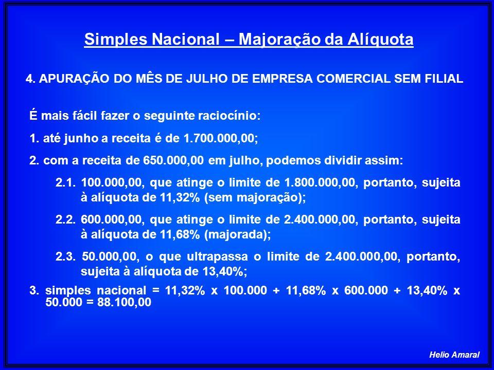 Helio Amaral Simples Nacional – Majoração da Alíquota É mais fácil fazer o seguinte raciocínio: 1. até junho a receita é de 1.700.000,00; 2. com a rec