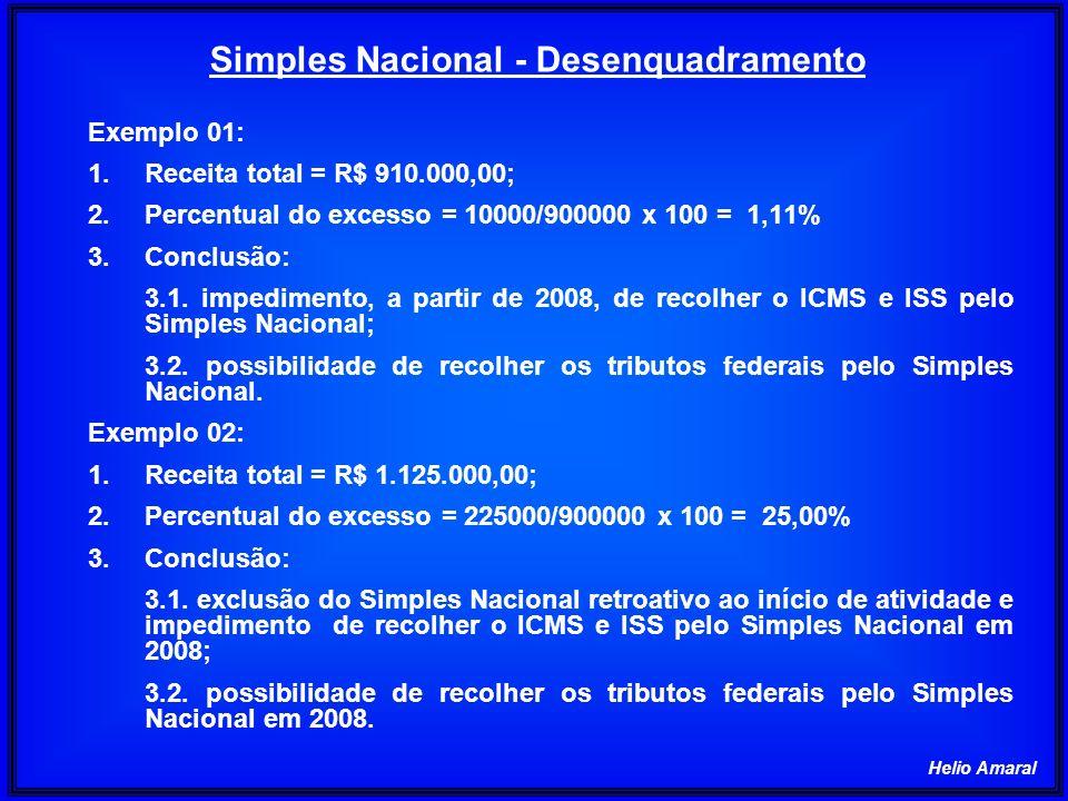 Simples Nacional - Pagamento 1 - EMPRESA COMERCIAL - COMPETÊNCIA JANEIRO/2008 ITEM DISCRIMINAÇÃOVALOR 01Receita acumulada (Jan/07 a Dez /07)1.400.000,00 02Receita de revenda de mercadoria120.000,00 03Alíquota (Anexo I, Seção I, Tabela I)10,04% 04Valor do Simples Nacional (02 x 03)12.048,00 2 - EMPRESA COMERCIAL - COMPETÊNCIA JANEIRO/2008 ITEM DISCRIMINAÇÃOVALOR 01Receita acumulada (Jan/07 a Dez/07)110.000,00 02Receita de venda de mercadoria5.000,00 03Alíquota (Anexo I, Seção I, Tabela I)2,75%* 04Valor do Simples Nacional, exceto ICMS (02 x 03)137,50 05Valor do Simples Nacional do ICMS50,00 06Valor total do Simples Nacional (04+05)138,00 *2,75% = 4,00% - 1,25%