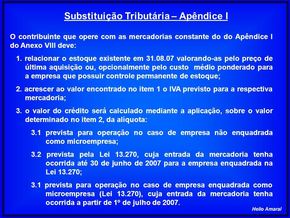Helio Amaral O contribuinte que opere com as mercadorias constante do do Apêndice I do Anexo VIII deve: 1. relacionar o estoque existente em 31.08.07