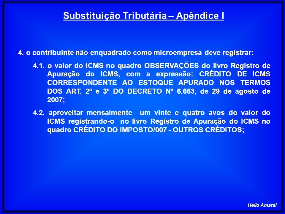 Helio Amaral 4. o contribuinte não enquadrado como microempresa deve registrar: 4.1. o valor do ICMS no quadro OBSERVAÇÕES do livro Registro de Apuraç