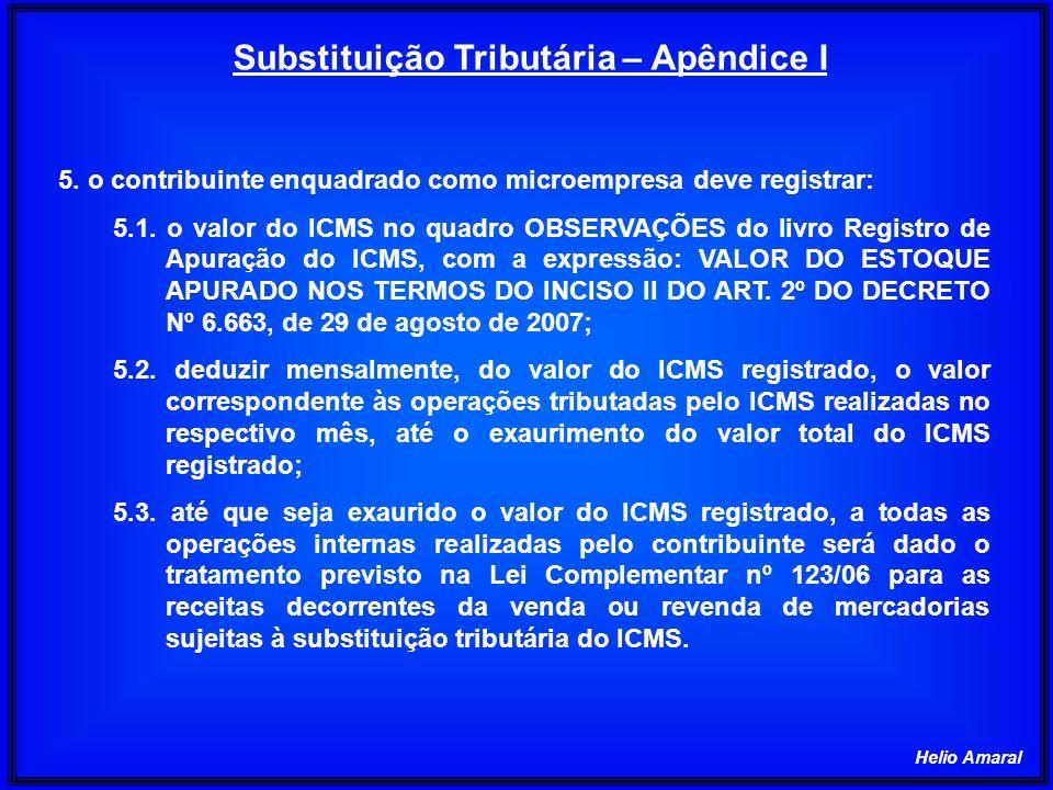 Helio Amaral 5. o contribuinte enquadrado como microempresa deve registrar: 5.1. o valor do ICMS no quadro OBSERVAÇÕES do livro Registro de Apuração d