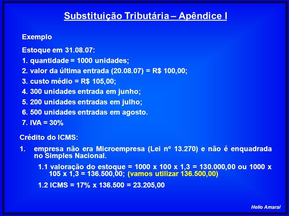 Helio Amaral Substituição Tributária – Apêndice I Exemplo Estoque em 31.08.07: 1. quantidade = 1000 unidades; 2. valor da última entrada (20.08.07) =
