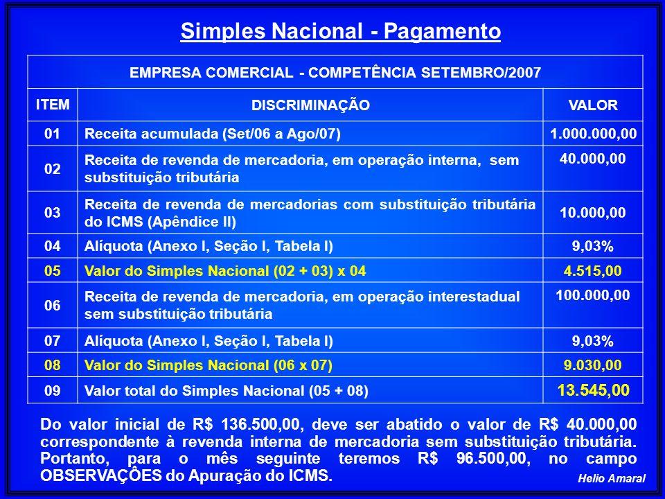 Helio Amaral EMPRESA COMERCIAL - COMPETÊNCIA SETEMBRO/2007 ITEM DISCRIMINAÇÃOVALOR 01Receita acumulada (Set/06 a Ago/07)1.000.000,00 02 Receita de rev