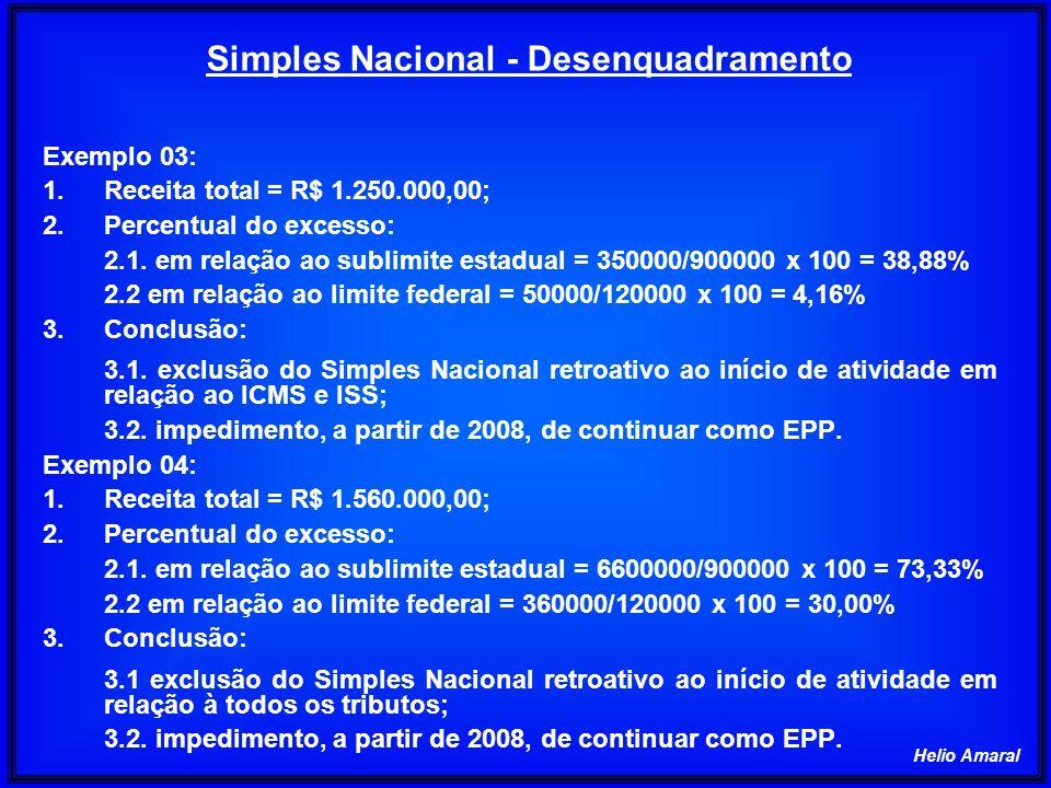 Helio Amaral Exemplo 03: 1.Receita total = R$ 1.250.000,00; 2.Percentual do excesso: 2.1. em relação ao sublimite estadual = 350000/900000 x 100 = 38,