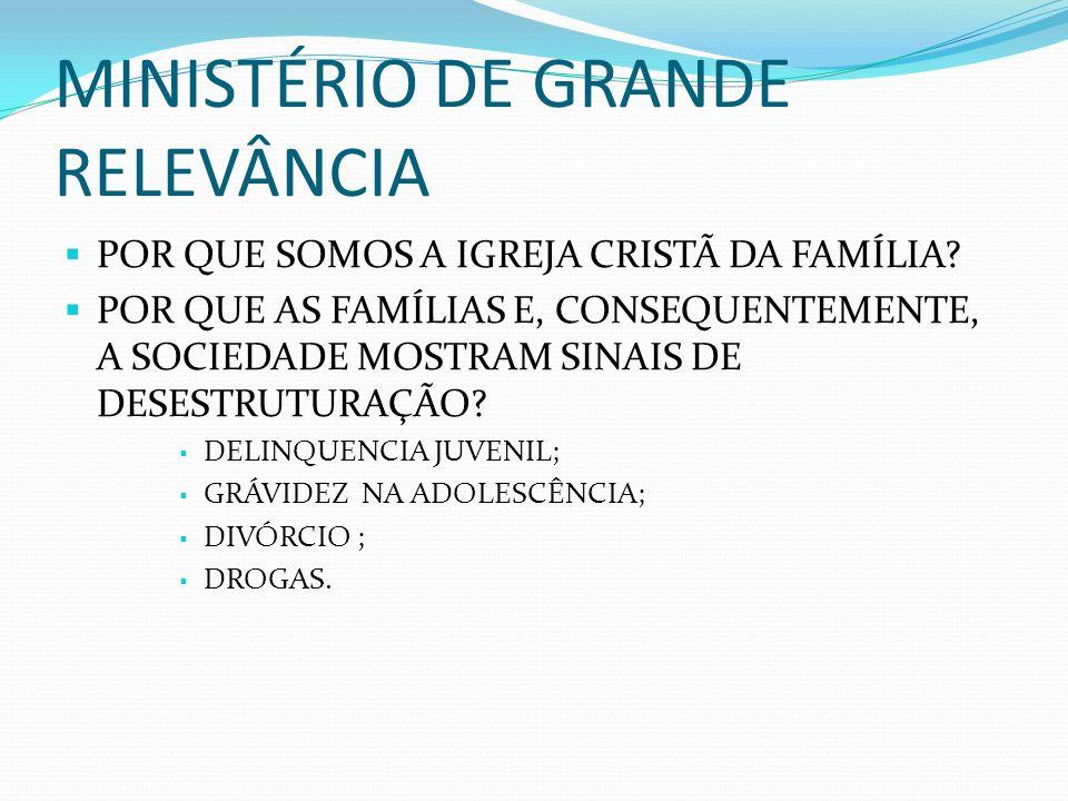 MINISTÉRIO DE GRANDE RELEVÂNCIA POR QUE SOMOS A IGREJA CRISTÃ DA FAMÍLIA? POR QUE AS FAMÍLIAS E, CONSEQUENTEMENTE, A SOCIEDADE MOSTRAM SINAIS DE DESES
