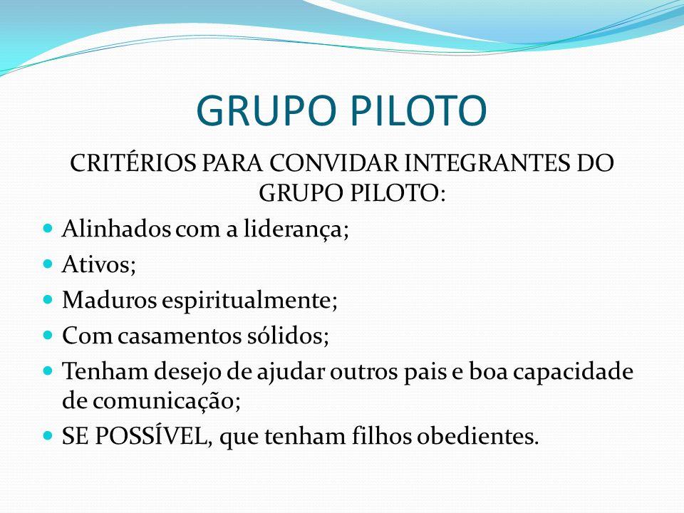 GRUPO PILOTO CRITÉRIOS PARA CONVIDAR INTEGRANTES DO GRUPO PILOTO: Alinhados com a liderança; Ativos; Maduros espiritualmente; Com casamentos sólidos;