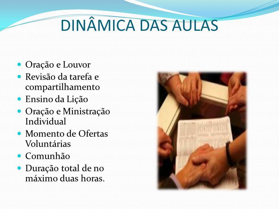 DINÂMICA DAS AULAS Oração e Louvor Revisão da tarefa e compartilhamento Ensino da Lição Oração e Ministração Individual Momento de Ofertas Voluntárias