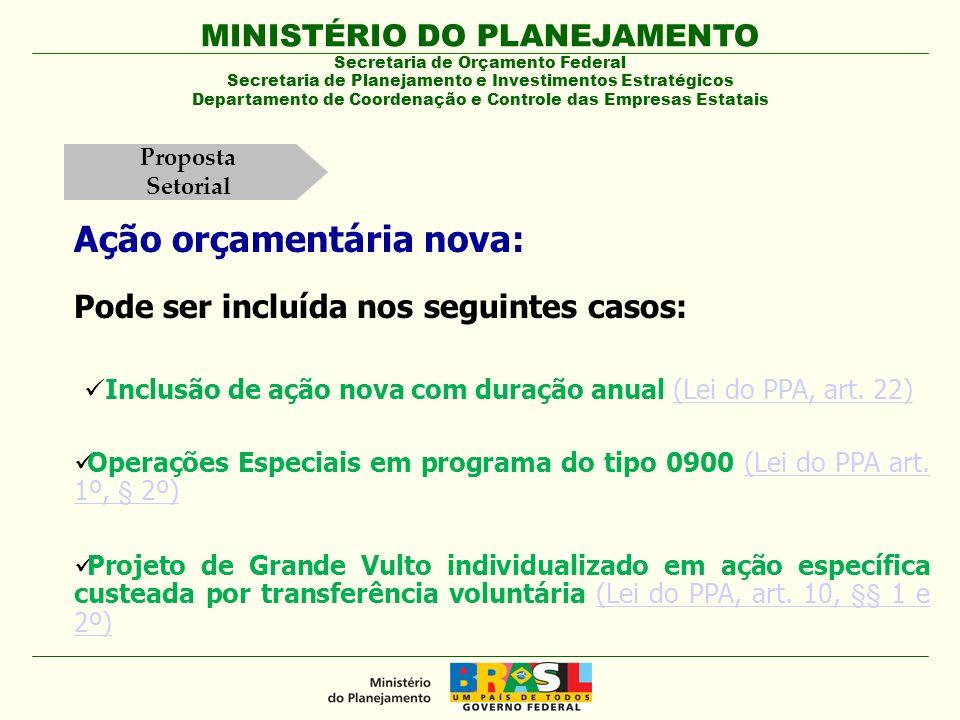 MINISTÉRIO DO PLANEJAMENTO Secretaria de Orçamento Federal Secretaria de Planejamento e Investimentos Estratégicos Departamento de Coordenação e Controle das Empresas Estatais Art.