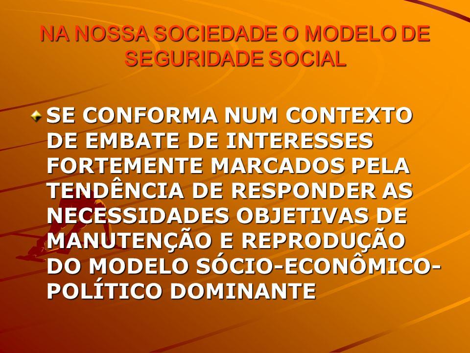 NA NOSSA SOCIEDADE O MODELO DE SEGURIDADE SOCIAL SE CONFORMA NUM CONTEXTO DE EMBATE DE INTERESSES FORTEMENTE MARCADOS PELA TENDÊNCIA DE RESPONDER AS NECESSIDADES OBJETIVAS DE MANUTENÇÃO E REPRODUÇÃO DO MODELO SÓCIO-ECONÔMICO- POLÍTICO DOMINANTE