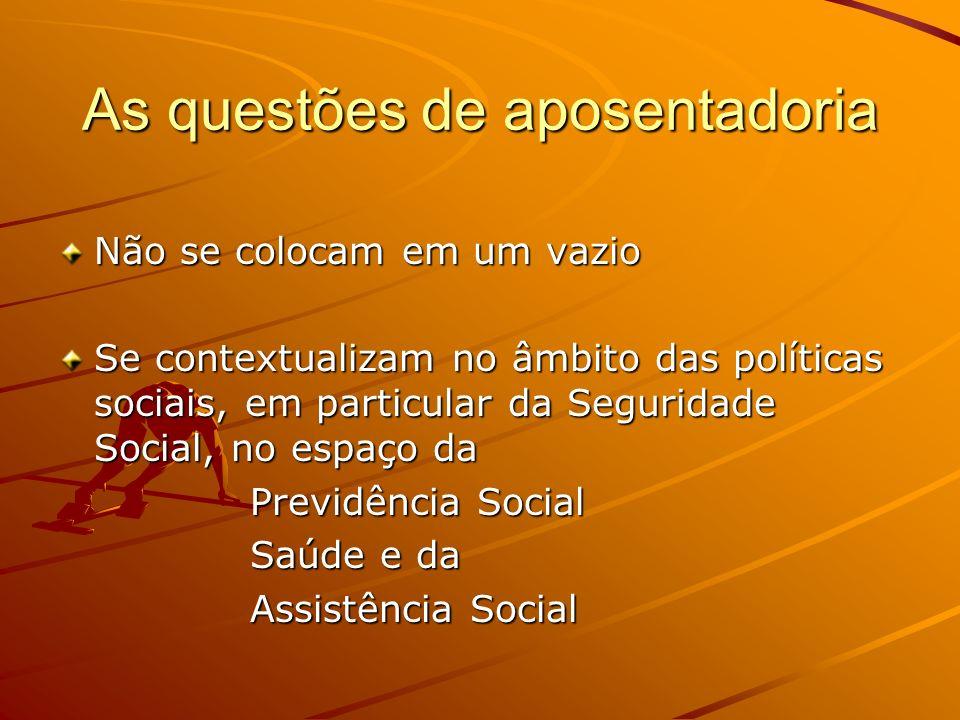 As questões de aposentadoria Não se colocam em um vazio Se contextualizam no âmbito das políticas sociais, em particular da Seguridade Social, no espaço da Previdência Social Saúde e da Assistência Social