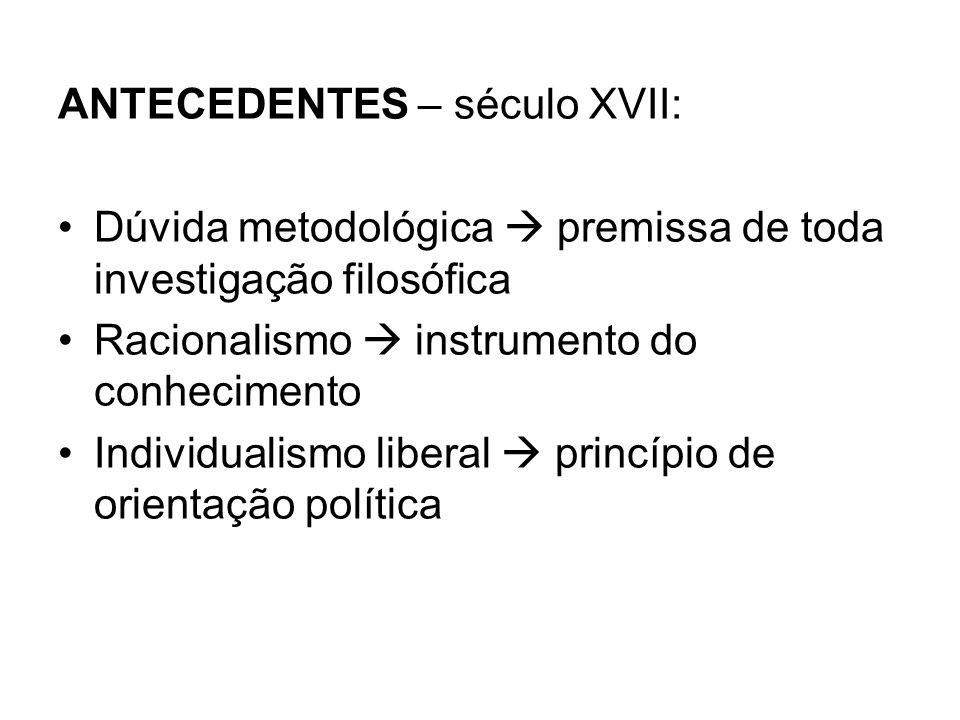 ANTECEDENTES – século XVII: Dúvida metodológica premissa de toda investigação filosófica Racionalismo instrumento do conhecimento Individualismo liberal princípio de orientação política