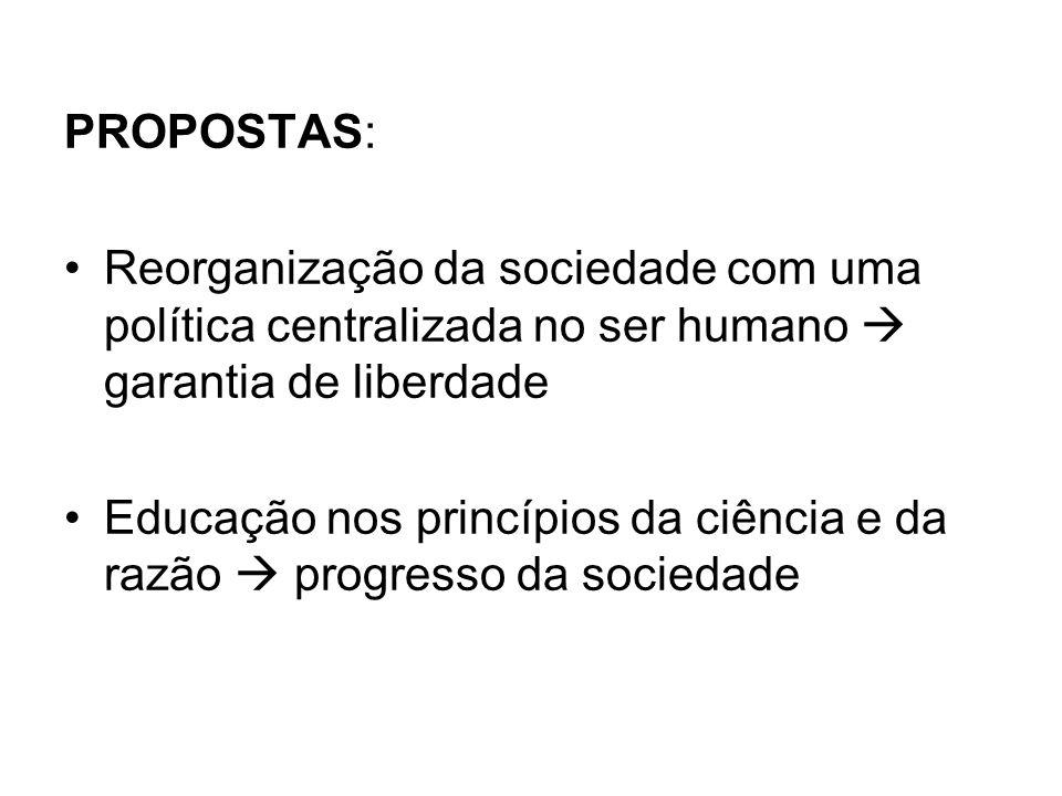 PROPOSTAS: Reorganização da sociedade com uma política centralizada no ser humano garantia de liberdade Educação nos princípios da ciência e da razão progresso da sociedade