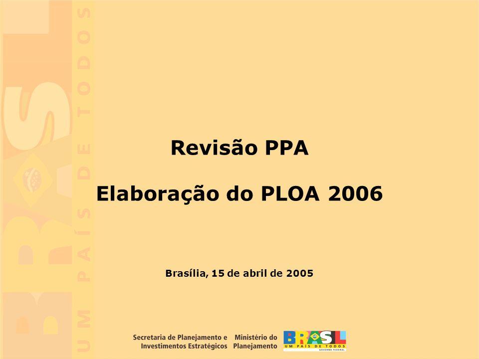 10 Brasília, 15 de abril de 2005 Revisão PPA Elaboração do PLOA 2006