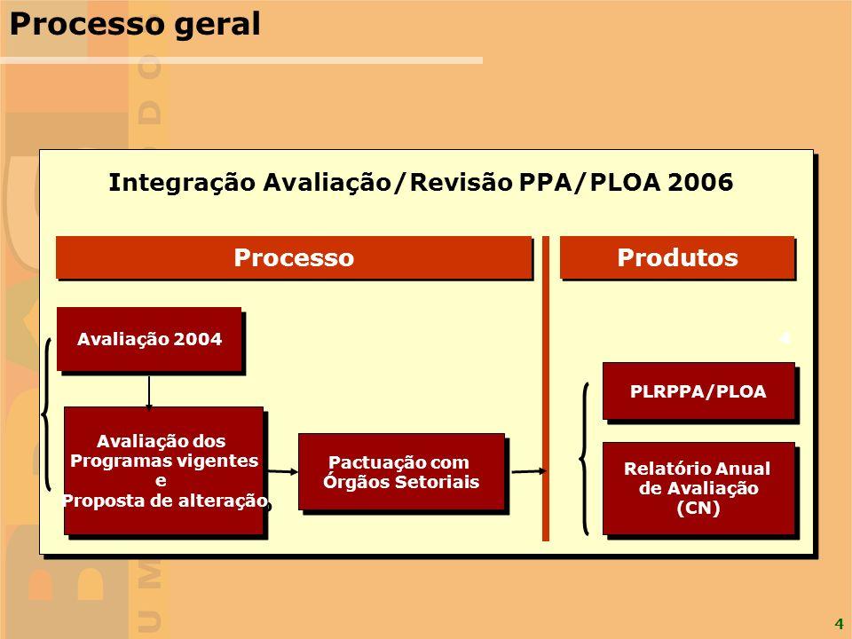 4 Processo geral Processo Produtos Avaliação 2004 Avaliação dos Programas vigentes e Proposta de alteração Avaliação dos Programas vigentes e Proposta